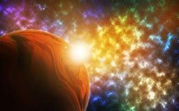 Planeta en un cielo vibrante stock de ilustración