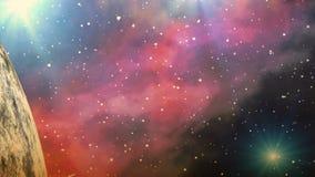 Planeta enorme y una nebulosa brillante en el dreamscape del fondo stock de ilustración