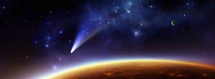 Planeta extranjero con el cometa y las lunas Imagen de archivo libre de regalías