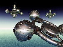 Planeta extranjero con las naves espaciales extranjeras Imagen de archivo libre de regalías