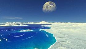 Planeta extranjero Montaña y agua representación 3d Imágenes de archivo libres de regalías