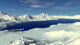 Planeta extranjero Montaña y agua representación 3d Fotos de archivo