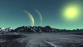 Planeta extranjero Montaña y agua representación 3d Imagenes de archivo