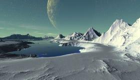 Planeta extranjero Montaña y agua representación 3d Imagen de archivo