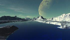 Planeta extranjero Montaña y agua representación 3d Fotografía de archivo