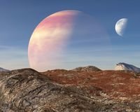 Planeta extranjero surrealista, fondo de la luna fotografía de archivo