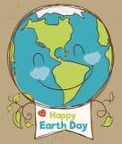 Planeta feliz con la muestra del Día de la Tierra, ejemplo del vector Foto de archivo libre de regalías