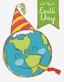 Planeta feliz que celebra el Día de la Tierra, ejemplo del vector Imagen de archivo libre de regalías