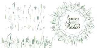 Planeta floral del verde del sistema imágenes de archivo libres de regalías