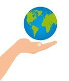 Planeta flotante sobre la mano Fotos de archivo libres de regalías