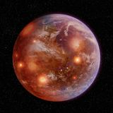 Planeta fundido con los cráteres y la atmósfera stock de ilustración