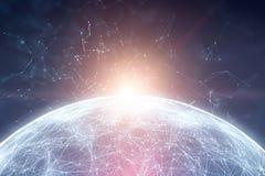 Planeta futurista mágico com linhas pontos e luz solar Imagem de Stock Royalty Free