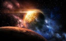 Planeta i gwiazdy w przestrzeni Zdjęcia Royalty Free