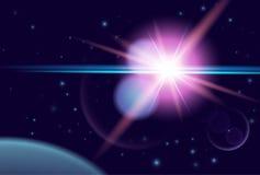 Planeta i połysk gwiazda w ciemnej przestrzeni Wektorowy kosmosu tło ilustracji