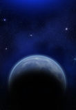 Planeta, luna y estrellas Fotografía de archivo