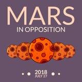 Planeta Mars w opozycja wektoru ilustraci ilustracji