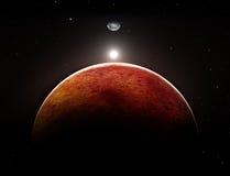 Planeta Marte con la luna Imágenes de archivo libres de regalías
