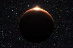Planeta Marte con salida del sol en el espacio (elementos de los furnis de esta imagen imágenes de archivo libres de regalías