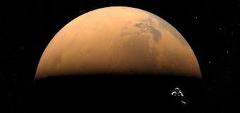 Planeta Marte y flotación del astronauta libre en espacio ilustración del vector