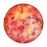 Planeta Mercury On White Background de la acuarela Globo rojo dibujado mano aislado Esfera redonda abstracta stock de ilustración