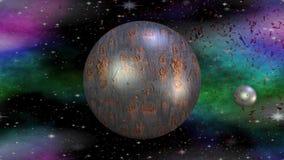 Planeta metálico que gira no cosmos com seu mês, um outro planeta vermelho da fantasia que explode no espaço, partículas de voo ilustração do vetor