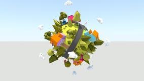 Planeta minúsculo de giro 4K stock de ilustración