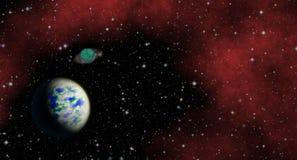 Planeta misterioso, desconocido en el universo Vida entre las estrellas Mirada panorámica en espacio profundo stock de ilustración