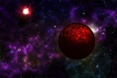 Planeta muerto en espacio Imágenes de archivo libres de regalías