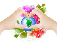 Planeta nas mãos Imagem de Stock