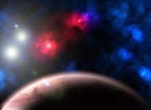 Planeta, nebulosas y estrellas rojos Imágenes de archivo libres de regalías