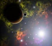 Planeta, nebulosas y estrellas rojos Imagenes de archivo