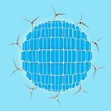 Planeta, painéis solares, turbinas eólicas que generalizam energias limpas Fotografia de Stock