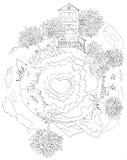 Planeta pequeno - contorno Imagem de Stock