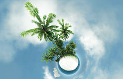 Planeta pequeno, oceano, ilha tropical, ilustração das palmeiras 3D Foto de Stock
