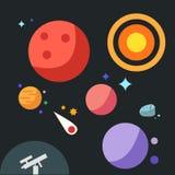 Planeta plano con el sol y la estrella Imágenes de archivo libres de regalías