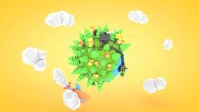 Planeta polivinílico bajo con la animación del cohete, representación 3d ilustración del vector