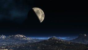 Planeta przeciw fantastycznemu krajobrazowi ilustracji