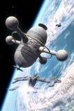 Planeta que está en órbita de la estación espacial ilustración del vector