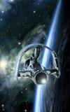 Planeta que está en órbita de la nave espacial stock de ilustración