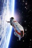 Planeta que está en órbita del combatiente de la nave espacial stock de ilustración