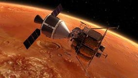 Planeta que está en órbita interplanetario Marte de la estación espacial ilustración del vector