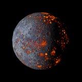 Planeta quente estrangeiro na rendição preta do fundo 3d Fotos de Stock