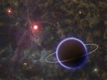 Planeta rodeado entre estrelas e nebulosa Imagem de Stock