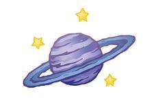 Planeta rodeado estilizado Fotos de Stock