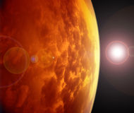 Planeta rojo en espacio. Imágenes de archivo libres de regalías