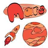 Planeta rojo Marte en el espacio con las estrellas y las lanzaderas Ilustración drenada mano ilustración del vector