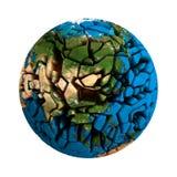 Planeta roto tierra agrietada 3D del globo Imagen de archivo libre de regalías