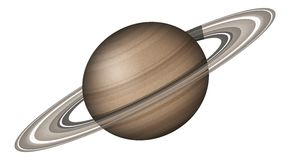 Planeta Saturn, isolado no branco Foto de Stock Royalty Free