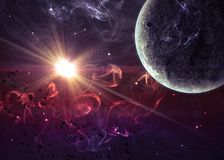 Planeta sobre las nebulosas en espacio. Elementos de esto Fotografía de archivo libre de regalías