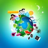 Planeta social ocupado Imagem de Stock